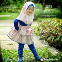 Winnie Legging Set Baju Muslim Anak Usia 5-6 tahun Warna Pink-Biru