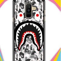 Hardcase Samsung Galaxy A6 Plus 2018 A Bathing Ape White Camo Shark J