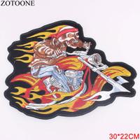 Patch Fire Skull Man Biker Motorcycle Harley Davidson Bordir