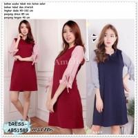 Mini Dress Tunik Kerja Pesta Lengan Panjang Baju Katun Bangkok Import