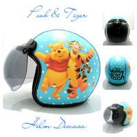 Helm Bogo Retro Kulit Klasik SNI Motif Winnie The Pooh And Tiger
