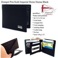 DOMPET PRIA IMPERIAL HORSE WALLET MEDIUM FLIP BLACK ORIGINAL KULIT