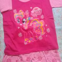 Baju setelan kaos Little Pony Pink size M ( 5-6 tahun )