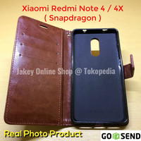 Xiaomi Redmi Note 4x Leather Flip Wallet Cover Case Dompet Kulit HP