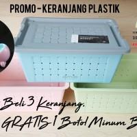 Keranjang Plastik   PROMO BELI 3 GRATIS 1 Botol Minum   43x32x19cm