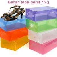Box / Kotak Sepatu Transparant Plastik Warna Warni Promo