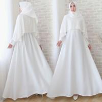 Baju Gamis Pesta Muslim Remaja Wisuda Modern Rosa Brokat Brukat Putih