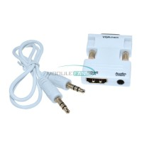 HDMI Female to VGA Male Converter + Audio Cable Support 1080P Signal