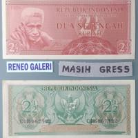 Uang 2 1/2 setengah 2½ rupiah 2,5 suku bangsa 1956 gress kuno kertas