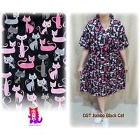 JUMBO DASTER BLACK CAT piyama big size ukuran besar wanita katun xxxl
