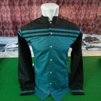 baju koko hadroh hitam kombinasi hijau tosca terbaru