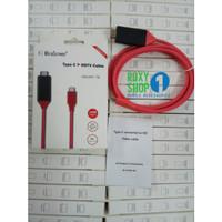 kabel USB tipe c ke hdmi converter samsung s8 s9 a5 a7 a8 ke lcd tv