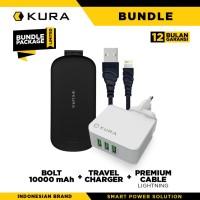 BUNDLE KURA Bolt 10000 + Travel Charger + Premium Cable Lightning