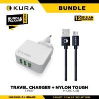 BUNDLE KURA Travel Charger 3 Port + Nylon Tough Cable Micro USB
