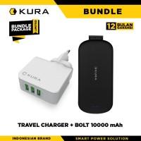 BUNDLE KURA Travel Charger 3 Port + Bolt 10000 mAh