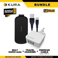 BUNDLE KURA Bolt 10000 + Travel Charger + Premium Cable USB Type C