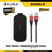 BUNDLE KURA Bolt 10000 mAh + Premium Nylon Tough Cable USB Type C