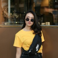 Kaos Oblong Polos 30S Wanita warna Kuning O-Neck Lengan Pendek T-shirt