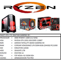 PAKET CPU / PC RAKITAN GAMING 39 /AMD RYZEN 5 1600 / GTX 1050 / 8GB