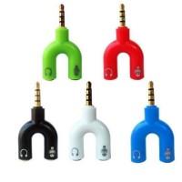 U Shape - Audio Splitter 3.5 Male to Dual 3.5 Female Mic Headphone