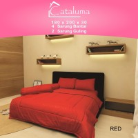 Sprei Set Polos RED- King Size Ukuran 180x200x30 - 4 Bantal
