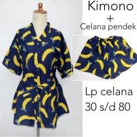Piyama Baju Tidur Daster Kimono Dewasa Wanita Katun Kancing Depan Unik
