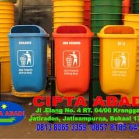 Tempat Sampah Fiberglass Gandeng Tiga warna
