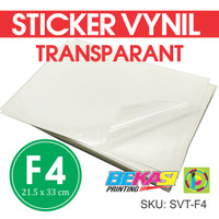Sticker Vynil Transparan / Stiker Bening / Transparant Ukuran Folio