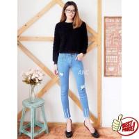 Ancienstore Celana Jeans Wanita 7/9 Ripped Vid Dot (BEST SELLER) (uk