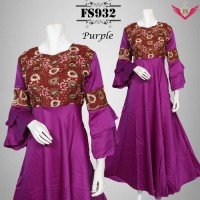 Gamis Dress Baju Pesta Muslimah Satin Sari India Ungu Size M D AGC1739