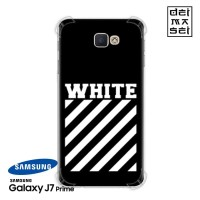 Off White Black Casing Samsung Galaxy J7 Prime Anti Crack Case HP
