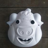 TOPENG LUKIS POLOS wajah babi lucu art craft pulp