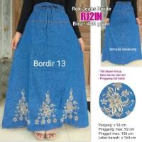 Jual Rok jeans panjang model bordir cantik warna biru Murah