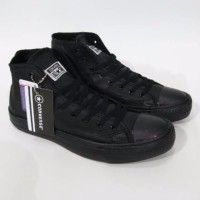 Sepatu Converse All Star CT2 Kulit Leather Full Black Hitam High