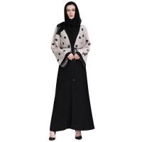 Wanita Appliques Patch Desain Kardigan Gaun Flare Lengan Turki Arab Ju