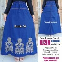 Jual Rok jeans panjang model bordir cantik warna dongker Murah