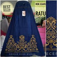 Jual rok jeans / denim motif bordir Murah