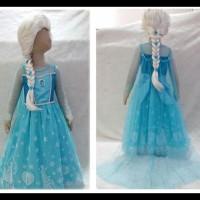 Baju Anak Dress Kostum Frozen Elsa (05) Rok Motif