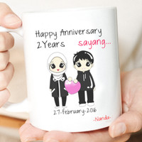 Sablon Cetak Mug Custom Satuan Premium / Kado Unik Romantis - Anniv2nd