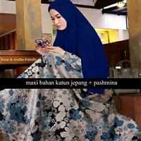 Jual Magda Maroon Navy gamis katun jepang busana muslim wanita Murah