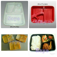 Bento mika 4 sekat/Bento tray/Tempat makanan/Lunch box/Box bento