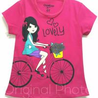Kaos karakter anak oshkosh lovely sepeda pink 1-6 tahun