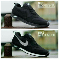 Sepatu Casual Pria Nike MD Runner Hitam Black Nike Waffle Trainer
