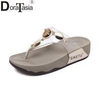 35Besar Ukuran 35-41 Wanita Sepatu Platform Wedges Sandal Kristal Loga