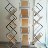 Rak Brosur Lipat Stainless Acrylic zigzag 7 susun