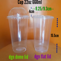 PLASTIC CUP 22 OZ/gelas plastik 22oz 660ml/cup thai tea 22 oz + tutup