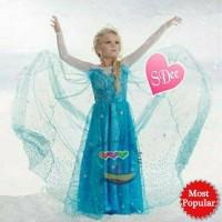 BEST SELLER || Dress Princess Elsa Frozen Sayap Gaun Pesta Anak IMPORT