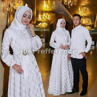 Baju Couple Keluarga Busana Muslim Elegant Cp Raswa Putih Termurah