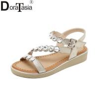 50Besar Ukuran 35-42 Wanita Sepatu Kristal Gesper Tali Sandal Wedges S
