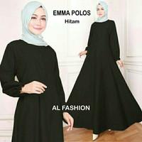 Maxi Emma Polos Hitam Baju Muslim Wanita Gamis Model Kekinian Terbaru